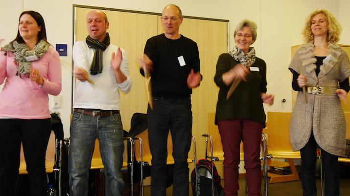 weitere Koordinationsübung im Workshop von Christine Löbbert